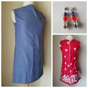 Dresses & Skirts - Vintage Retro Reversible Dress Matching Earrings